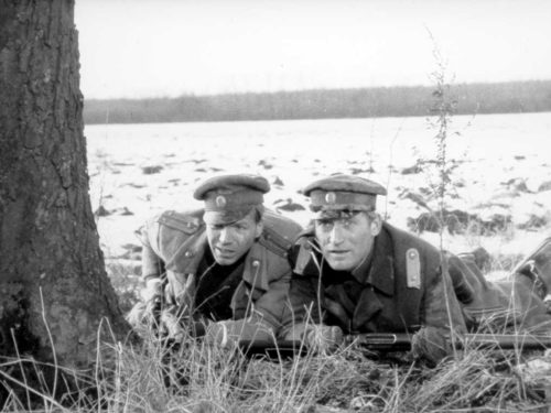 deux soldat de la première guerre, à plat ventre cachés derrière un arbre