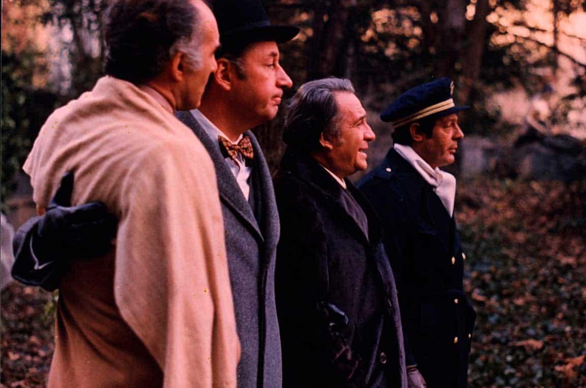 Michel Piccoli, Philippe Noiret, Ugo Tognazzi et Marcello Mastroianni dehors de profil