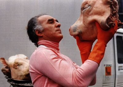 Michel Piccoli en sous pull rose qui tient et regarde une tête de cochon