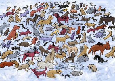 des dizaines de chiens de toute sorte dessinés